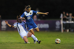 Evdokia Popadinova of Bristol Academy is challenged by Aoife Mannion of Birmingham City Ladies - Mandatory byline: Dougie Allward/JMP - 07966386802 - 05/09/2015 - FOOTBALL - SGS Wise Campus -Bristol,England - Bristol Academy Womens v Birmingham City Ladies - FA Womens Super League