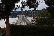 Interstate 90's twin floating bridges run through one of the city's many hills. Plans include adding the world's first light-rail line on a floating span, part of a $3.7 billion rail project linking Seattle and Redmond. (Ken Lambert/The Seattle Times)