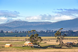 View of snow near Blessington from Point Road, Longford, Tasmania