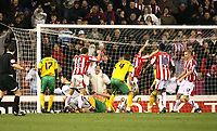 Photo: Paul Greenwood/Sportsbeat Images.<br />Stoke City v Norwich City. Coca Cola Championship. 01/12/2007.<br />Stoke's Richard Cresswell (C) raises his hands in celebration as he scores the winner