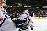 KELOWNA, BC - OCTOBER 12: Martin Lang #22 of the Kamloops Blazers celebrates opening the scoreboard with a first period goal against the Kelowna Rockets at Prospera Place on October 12, 2019 in Kelowna, Canada. (Photo by Marissa Baecker/Shoot the Breeze)