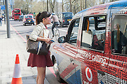 BIP LING ( PHONES FOR A TAXI ), Leaving The Seventh Annual Foreign Sisters Lunch in aid of Cancer Research UK. . The Dorchester 53 Park Lane. London. 1 May 2013.