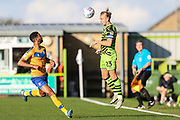 Forest Green Rovers Joseph Mills(23) heads the ball during the EFL Sky Bet League 2 match between Forest Green Rovers and Mansfield Town at the New Lawn, Forest Green, United Kingdom on 19 October 2019.