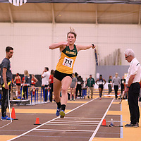Erika Stockhorstin action during the 2018 Canada West Track & Field Championship on February  24 at James Daly Fieldhouse. Credit: Arthur Ward/Arthur Images