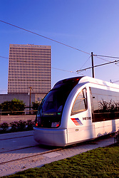 Metro light rail goes through downtown Houston