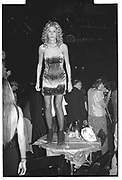 Candace Bushnell dancing on the table. Dada Ball. Downtown Manhattan. 1994.