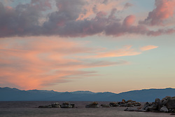 """Sunset at Lake Tahoe 25"" - These boulders and seagulls were photographed at sunset from Speedboat Beach, Lake Tahoe."