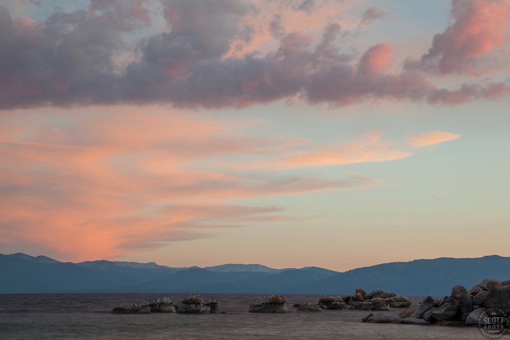 """""""Sunset at Lake Tahoe 25"""" - These boulders and seagulls were photographed at sunset from Speedboat Beach, Lake Tahoe."""