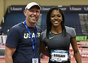 Mar 3, 3017; Albuquerque, NM, USA; Erica Bougard (right) poses with coach Kris Mack after winning the pentathlon during the USA Indoor Track and Field championships at the Albuquerque Convention Center.