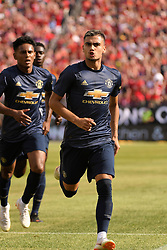 July 28, 2018 - Ann Arbor, MI, U.S. - ANN ARBOR, MI - JULY 28: Manchester United Midfielder Andreas Pereira (15) celebrates after scoring on a penalty kick in the first half of the ICC soccer match between Manchester United FC and Liverpool FC on July 28, 2018 at Michigan Stadium in Ann Arbor, MI (Photo by Allan Dranberg/Icon Sportswire) (Credit Image: © Allan Dranberg/Icon SMI via ZUMA Press)