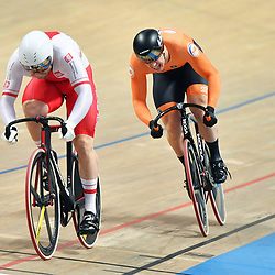 03-03-2019: WK wielrennen: Baan: Pruszkow <br />- Cycling - UCI Track Cycling World Championships presented by Tissot - Velodrome BGZ Arena, Pruszkow, Poland - Mateusz Rudyk of Poland and Harrie Lavreysen of The Netherlands Men's Sprint.