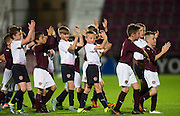 Hearts under 10s applaud the crowd after playing on the pitch during half time of Scotland Under-21 v FYR Macedonia,  UEFA Under 21 championship qualifier  at Tynecastle, Edinburgh. Photo: David Young<br /> <br />  - © David Young - www.davidyoungphoto.co.uk - email: davidyoungphoto@gmail.com