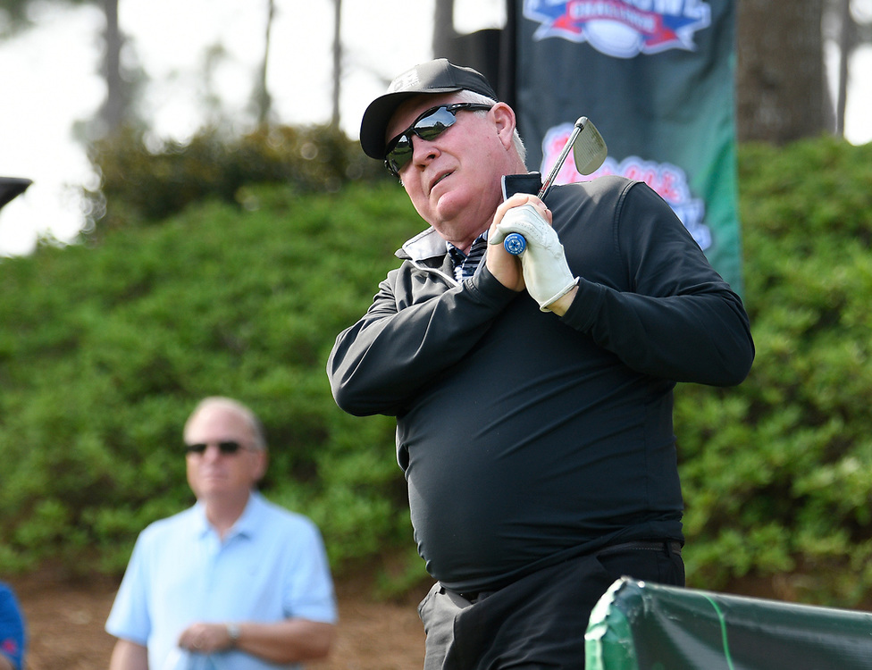 North Carolina head football coach Mack Brown during the Chick-fil-A Peach Bowl Challenge Closest to the Pin Skills Competition at the Ritz Carlton Reynolds, Lake Oconee, on Monday, April 29, 2019, in Greensboro, GA. (Dale Zanine via Abell Images for Chick-fil-A Peach Bowl Challenge)