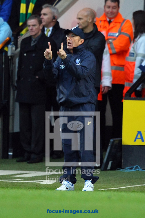 Picture by Paul Chesterton/Focus Images Ltd +44 7904 640267<br /> Crystal Palace Manager Tony Pulis during the Barclays Premier League match at Carrow Road, Norwich.