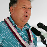 New Zealand Ambassador for Pacific Economic Development Shane Jones, addressed attendees in English and Maori at the STP/TriMarine Cannery Innauguration ceremonies and festivities, Satala, Tutuila, American Samoa. 1/24/15,  Photo by Barry Markowitz.