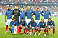 FOOTBALL - FRIENDLY GAME - FRANCE v CHILI - 10/08/2011 - PHOTO SYLVAIN THOMAS / DPPI - TEAM FRANCE ( BACK ROW LEFT TO RIGHT: ERIC ABIDAL / HUGO LLORIS / SAMIR NASRI / YOUNES KABOUL / LOIC REMY / KARIM BENZEMA. FRONT ROW: MARVIN MARTIN / FLORENT MALOUDA / BACARY SAGNA / GAEL CLICHY / YANN M'VILA )