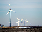 "24 FEBRUARY 2020 - BLAIRSBURG, IOWA:  Wind turbines on a ""wind farm"" near Blairsburg. There are more than 100 wind turbines at this location. In 2019, Iowa generated more than 41% of its electrical needs with wind power. Iowa is the 2nd leading producer of wind energy in the US, only Texas generates more electricity by wind power. There are more than 4,500 wind turbines in Iowa.      PHOTO BY JACK KURTZ"