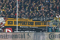 03.03.2015, Stadion Dresden, Dresden, GER, DFB Pokal, SG Dynamo Dresden vs Borussia Dortmund, Achtelfinale, im Bild Besondere Gruesse der Dresdner Fans // SPO during German DFB Pokal last sixteen match between SG Dynamo Dresden and Borussia Dortmund at the Stadion Dresden in Dresden, Germany on 2015/03/03. EXPA Pictures &copy; 2015, PhotoCredit: EXPA/ Eibner-Pressefoto/ Hundt<br /> <br /> *****ATTENTION - OUT of GER*****
