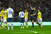 Ben Pearson of Preston North End (4) is sent off and receives a red card during the EFL Sky Bet Championship match between Preston North End and Leeds United at Deepdale, Preston, England on 9 April 2019.