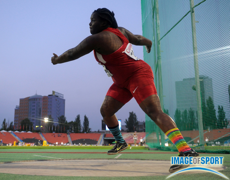 Jul 10, 2013; Donetsk, UKRAINE; Lloydricia Cameron (USA) places eighth in the womens discus at 149-2 (45.48m) in the 2013 IAAF World Youth Championships at Olimpiyskiy Stadium.