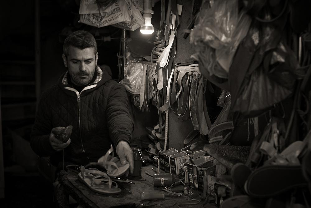 Sandal maker, Mellisino's Sandal Shop, Athens, Greece. ©2017 Darren Carroll