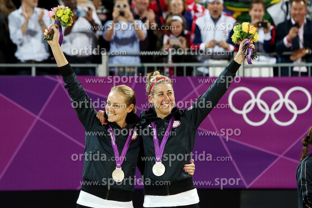 Olympics - London 2012 Olympic Games - Beach Volleyball - Women's Beach Volleyball Final - 8/8/12.silver medallists USA's Jennifer Kessy and April Ross .© pixathlon