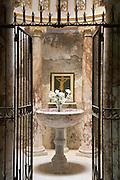inside a church stone font for baptizing babies
