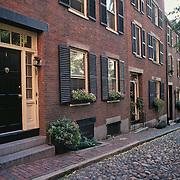 Massachusetts, Boston; Residential Brownstones On Acorn Street; River Rock Paving; Beacon Hill