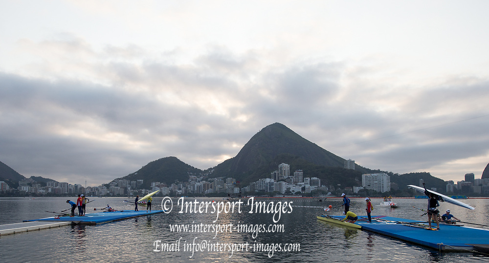 Rio de Janeiro. BRAZIL    Boating  General view of the boat park.and across the course.  2016 Olympic Rowing Regatta. Lagoa Stadium,<br /> Copacabana,  &ldquo;Olympic Summer Games&rdquo;<br /> Rodrigo de Freitas Lagoon, Lagoa. Local Time 07:08:46  Tuesday  09/08/2016<br /> [Mandatory Credit; Peter SPURRIER/Intersport Images]