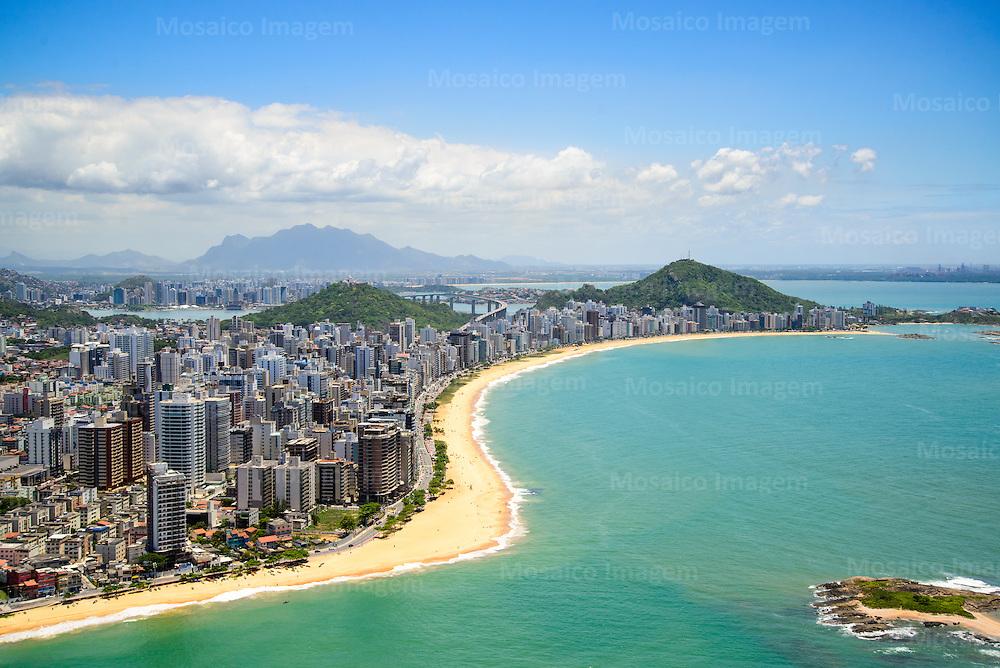 Brasil - Espirito Santo - Vila Velha - Vista aerea da Praia de Itapua com Praia da Costa ao fundo - Foto: Bruno Coelho/ Mosaico Imagem