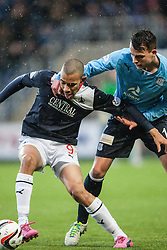 Falkirk's Phil Roberts and Dundee's Kyle Benedictus.<br /> Falkirk 2 v 0 Dundee, Scottish Championship game at The Falkirk Stadium.<br /> &copy; Michael Schofield.