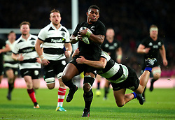 Waisake Naholo of New Zealand is tackled - Mandatory by-line: Robbie Stephenson/JMP - 04/11/2017 - RUGBY - Twickenham Stadium - London,  - Barbarians v All Blacks - Killik Cup