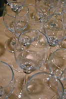 Empty wine glasses on table