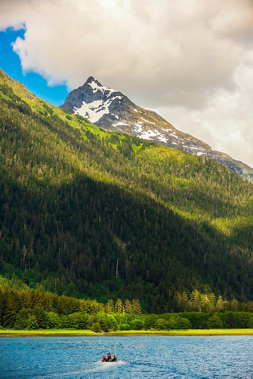 Skiff, Nakwasina Sound,  Inside Passage, Southeast Alaska USA.