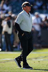 OAKLAND, CA - NOVEMBER 17: Head coach Jon Gruden of the Oakland Raiders watches his team warm up before the game against the Cincinnati Bengals at RingCentral Coliseum on November 17, 2019 in Oakland, California. The Oakland Raiders defeated the Cincinnati Bengals 17-10. (Photo by Jason O. Watson/Getty Images) *** Local Caption *** Jon Gruden