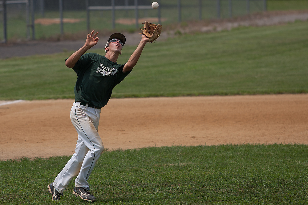 West Deptford's Tommy Jakubowski makes the final out of the 6th inning during a elimination bracket game of the Eastern Regional Senior League tournament held in West Deptford on Sunday, August 7.