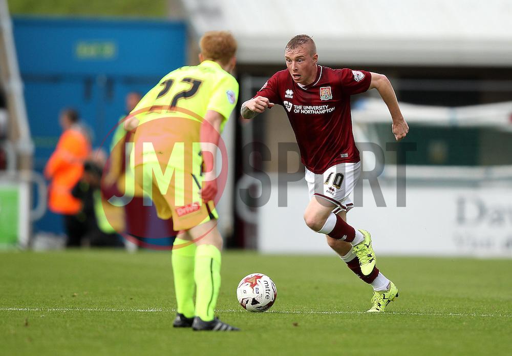 Nicky Adams of Northampton Town takes on Andrew Boyce of Hartlepool United - Mandatory byline: Robbie Stephenson/JMP - 07966 386802 - 10/10/2015 - FOOTBALL - Sixfields Stadium - Northampton, England - Northampton Town v Hartlepool - Sky Bet League Two
