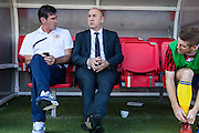 Accrington Stanley manager John Coleman in the dugout with assistant Mike Newell during the Sky Bet League 2 match between Crawley Town and Accrington Stanley at the Checkatrade.com Stadium, Crawley, England on 26 September 2015. Photo by Bennett Dean.