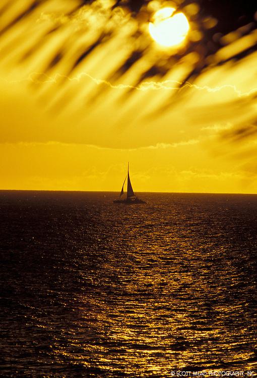 Sunset sail, Maui Hawaii Silhouette