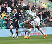Dundee's Alex Harris runs at Celtic's Virgil van Dijk -  Celtic v Dundee - SPFL Premiership at Celtic Park<br /> <br /> <br />  - © David Young - www.davidyoungphoto.co.uk - email: davidyoungphoto@gmail.com