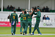 Samit Patel and Chris Read celebrating the wicket of Brett D'Oliveria during the Royal London 1 Day Cup match between Worcestershire County Cricket Club and Nottinghamshire County Cricket Club at New Road, Worcester, United Kingdom on 27 April 2017. Photo by Simon Trafford.