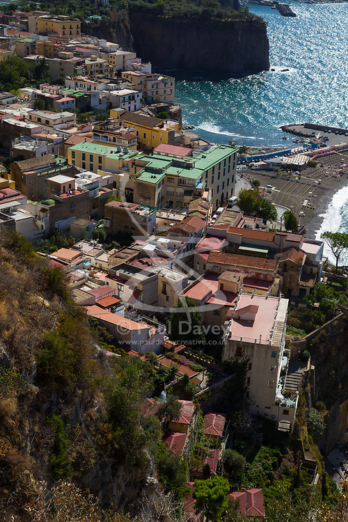 Sorrento, Italy, September 17 2017. The seaside village of Meta near Sorrento, Italy, photographed from Belvedere Di Sorrento. © Paul Davey
