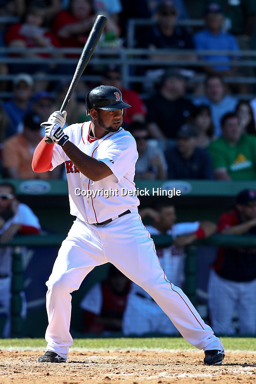 March 12, 2011; Fort Myers, FL, USA; Boston Red Sox shortstop Yamaico Navarro (72) during a spring training exhibition game at City of Palms Park. The Red Sox defeated the Marlins 9-2.  Mandatory Credit: Derick E. Hingle