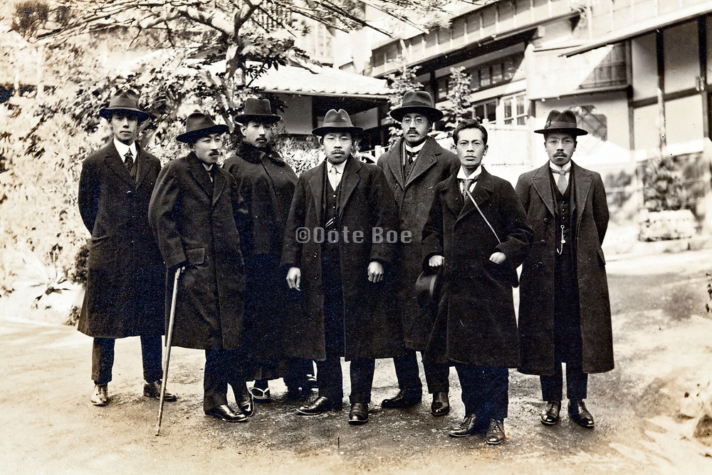 vintage businessmen group portrait Japan