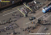 aerial photograph of St Patricks Day parade in Birmingham  England UK