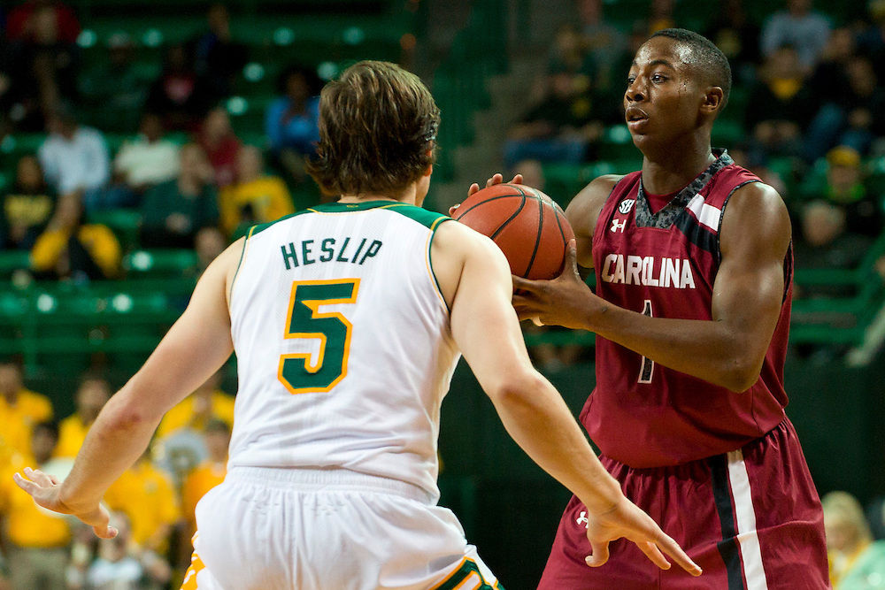 WACO, TX - NOVEMBER 12: Brenton Williams #1 of the South Carolina Gamecocks brings the ball up court against the Baylor Bears on November 12, 2013 at the Ferrell Center in Waco, Texas.  (Photo by Cooper Neill/Getty Images) *** Local Caption *** Brenton Williams
