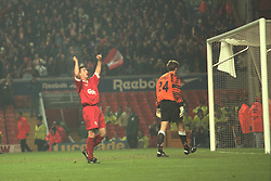 Liverpool, England - Wednesday, November 27th, 1996: Liverpool's Robbie Fowler celebrates the second goal, his first, against Arsenal's goalkeeper John Lukic, from the penalty spot during the 4th Round of the League Cup at Anfield. (Pic by David Rawcliffe/Propaganda)