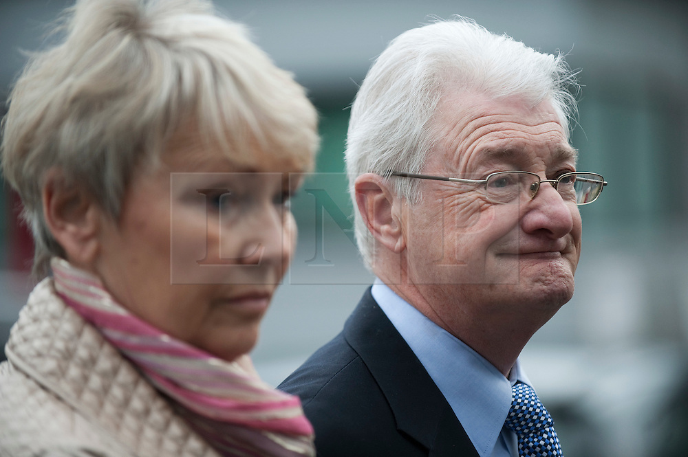 © Licensed to London News Pictures. 24/02/2012. Heathrow, UK. Christopher Tappin and his wife Elaine speaking to the media outside Heathrow Police station before Christopher Tappin surrendered himself  to police for extradition to the the USA. Christopher Tappin is charged with conspiring to export defence articles without licence or approval in relation to the sale of batteries that were allegedly used in Iranian surface-to-air missiles. Photo credit : Ben Cawthra/LNP