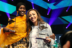 12.04.2019, Europa Park, Rust, GER, Radio Regenbogen Award 2019, im Bild v.li. Sonderpreis 2018, Fatuma Musa Afrah und Künstlerin National 2018, Namika // during the Radio Rainbow Award at the Europa Park in Rust, Germany on 2019/04/12. EXPA Pictures © 2019, PhotoCredit: EXPA/ Eibner-Pressefoto/ Joachim Hahne<br /> <br /> *****ATTENTION - OUT of GER*****