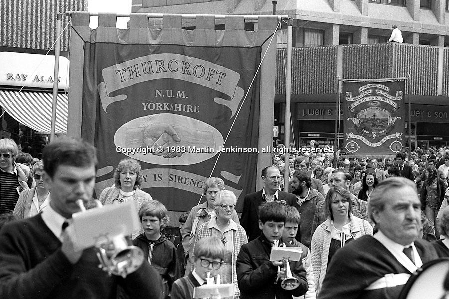 Thurcroft and Cadeby Main banners,1983 Yorkshire Miner's Gala. Barnsley.